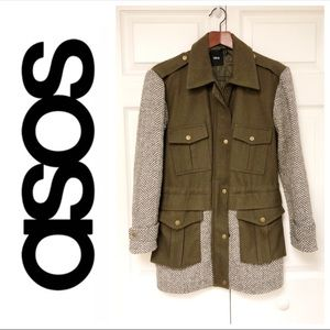 ASOS Wool Blend Olive Winter Jacket